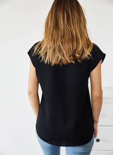XHAN Kahverengi V Yaka Bluz 0Yxk2-43806-18 Siyah